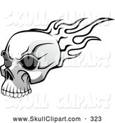Vector Clip Art of a Flying Black and White Flaming Skull with Dark Eye Sockets by Vector Tradition SM
