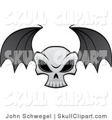 Vector Clip Art of a Flying Evil Skull with Black Bat Wings by John Schwegel