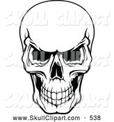 Vector Clip Art of a Frightening Black and White Evil Human Skull Grinning by Vector Tradition SM