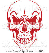 Vector Clip Art of a Frightening Evil Red and White Skull by Vector Tradition SM