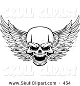 Vector Clip Art of a Frightening Evil Winged Skull Black and White by Vector Tradition SM