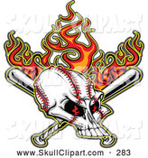 Vector Clip Art of a Frightening Flaming Evil Baseball Skull with Bats by Chromaco