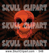 Vector Clip Art of a Frightening Hellish Cracked Human Skull over Grungy Halloween Rays and Splatters by Pushkin