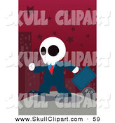 Vector Clip Art of a Ghostly Businessman Walking to the Left by a Gravestone in a Red Starry City by Mayawizard101
