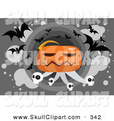 Vector Clip Art of a Giant Jack-o-Lantern with Skulls and Vampire Bats by Mayawizard101