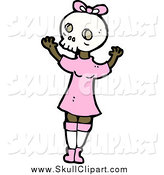 Vector Clip Art of a Girl Wearing a Skull Mask by Lineartestpilot