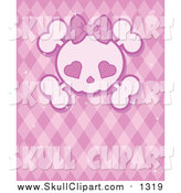 January 3rd, 2016: Vector Clip Art of a Girly Skull with Heart Eyes over a Pink Pattern by Pushkin