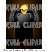 Vector Clip Art of a Glowing Yellow Creepy Skull with Black Wings, Resting over a Blank Black Sign by Elaineitalia
