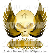 Vector Clip Art of a Gold Cracked Evil Skull with Golden Wings and a Blank Banner, on a White Background by Elaineitalia