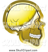 Vector Clip Art of a Gold Human Skull Facing Right by Lal Perera