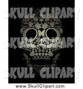 Vector Clip Art of a Gold Ornate Floral Day of the Dead Skull on Black by Lineartestpilot