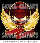 Vector Clip Art of a Gold Outlined Red Skull with Golden Wings and a Blank Red Banner on a Black Background with Blood Splatters by Elaineitalia