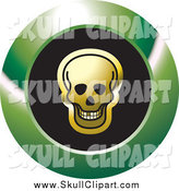 Vector Clip Art of a Gold Skull on a Round Black and Green Icon by Lal Perera