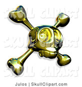 Vector Clip Art of a Gold Skull with Crossbones on White by Julos