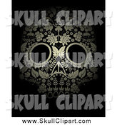 Vector Clip Art of a Golden Ornate Floral Day of the Dead Skull over Black by Lineartestpilot