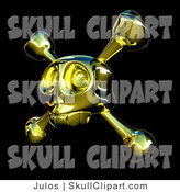 Vector Clip Art of a Golden Skull with Crossbones on Black by Julos