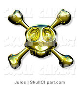 Vector Clip Art of a Golden Skull with Crossbones on White by Julos