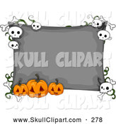 Vector Clip Art of a Gray Halloween Sign with Carved Jack O Lanterns and Skulls by BNP Design Studio