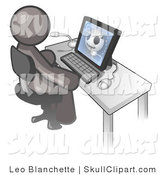 Vector Clip Art of a Gray Medical Doctor Man Sitting at a Computer and Viewing an Xray of a Head by Leo Blanchette