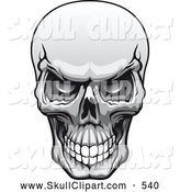 Vector Clip Art of a Grayscale Evil Human Skull Grinning on White by Vector Tradition SM