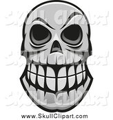 Vector Clip Art of a Grayscale Grinning Monster Skull with Big Teeth by Vector Tradition SM