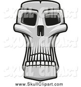 Vector Clip Art of a Grayscale Long Monster Skull by Vector Tradition SM