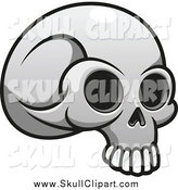 Vector Clip Art of a Grayscale Monster Skull by Vector Tradition SM