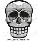 Vector Clip Art of a Grayscale Skull Smiling by Vector Tradition SM
