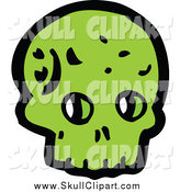 Vector Clip Art of a Green Alien Skull by Lineartestpilot