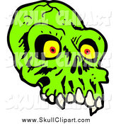 Vector Clip Art of a Green Alien Skull with Red and Yellow Eyes by Lineartestpilot