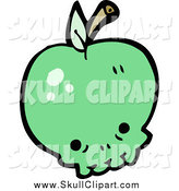 Vector Clip Art of a Green Apple Skull with a Stem by Lineartestpilot