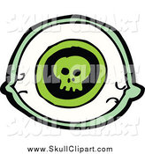 Vector Clip Art of a Green Eye with a Skull by Lineartestpilot