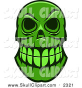 Vector Clip Art of a Green Monster Skull by Seamartini Graphics