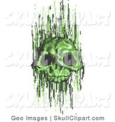 Vector Clip Art of a Green Pixel Skull Computer Virus by AtStockIllustration