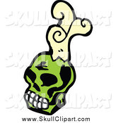 Vector Clip Art of a Green Skull and Smoke by Lineartestpilot