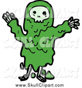 Vector Clip Art of a Green Skull Monster by Lineartestpilot