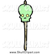 Vector Clip Art of a Green Skull Pierced with a Stick by Lineartestpilot
