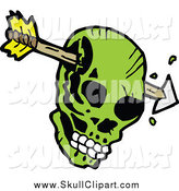 Vector Clip Art of a Green Skull Pierced with an Arrow by Lineartestpilot