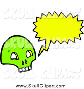 Vector Clip Art of a Green Skull Talking by Lineartestpilot