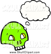 Vector Clip Art of a Green Skull Thinking by Lineartestpilot