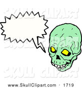 Vector Clip Art of a Green Skull with a Speech Balloon by Lineartestpilot