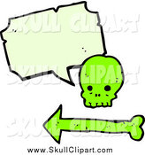 Vector Clip Art of a Green Skull with a Speech Bubble by Lineartestpilot