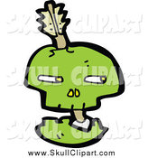 Vector Clip Art of a Green Skull with an Arrow Through Its Bones by Lineartestpilot