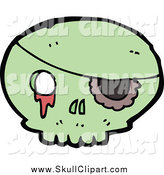 Vector Clip Art of a Green Skull with an Eye Patch and Goo by Lineartestpilot