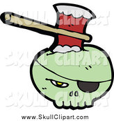 Vector Clip Art of a Green Skull with an Eye Patch, Stabbed with an Ax by Lineartestpilot
