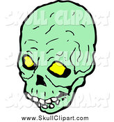 Vector Clip Art of a Green Skull with Glowing Eye Sockets by Lineartestpilot