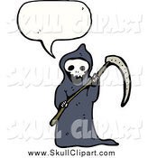 Vector Clip Art of a Grim Reaper Talking by Lineartestpilot