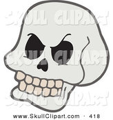 Vector Clip Art of a Grinning Cartoon Skull by Visekart