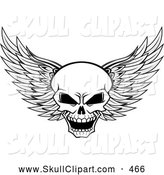 Vector Clip Art of a Grinning Evil Black and White Winged Skull by Vector Tradition SM