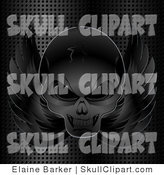 Vector Clip Art of a Grinning Evil Black Winged Skull Background with a Metal Grid by Elaineitalia